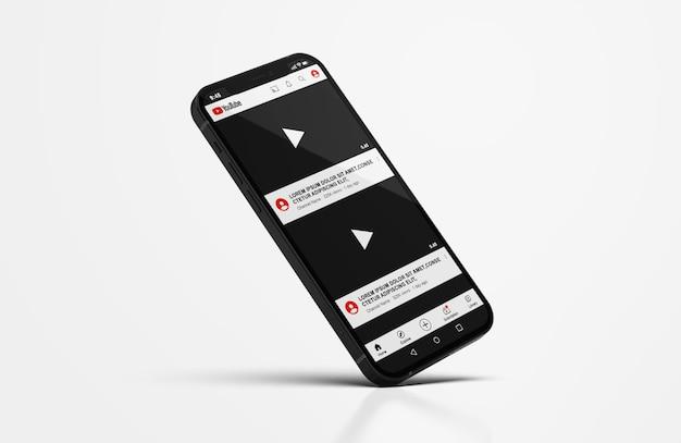 휴대 전화 모형의 youtube