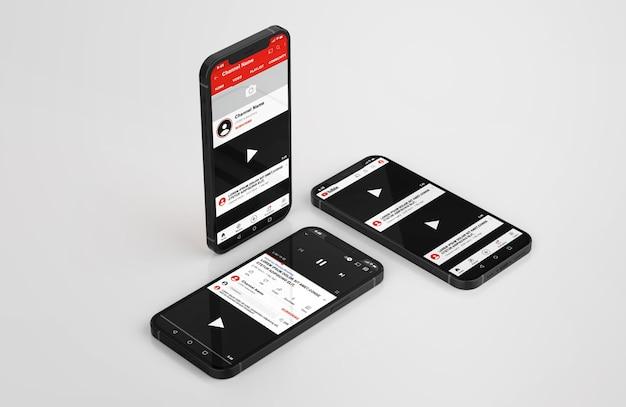 Youtube на макете мобильного телефона