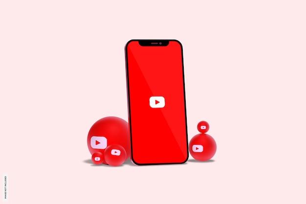 휴대 전화 목업에 youtube