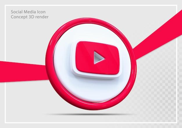 Youtube 소셜 미디어 아이콘 3d 렌더링 oncept