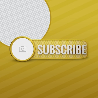 Youtube subscribe golden 3d render with channel icon