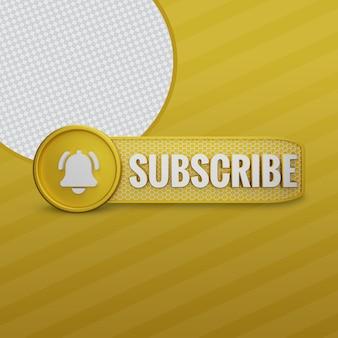 Youtube subscribe golden 3d render