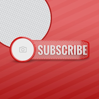 Youtube subscriber with channel icon 3d