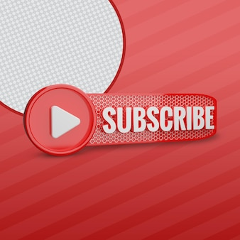 Youtube subscriber with play icon 3d