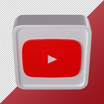 Youtube transparent 3d social media logo rounded square shaped