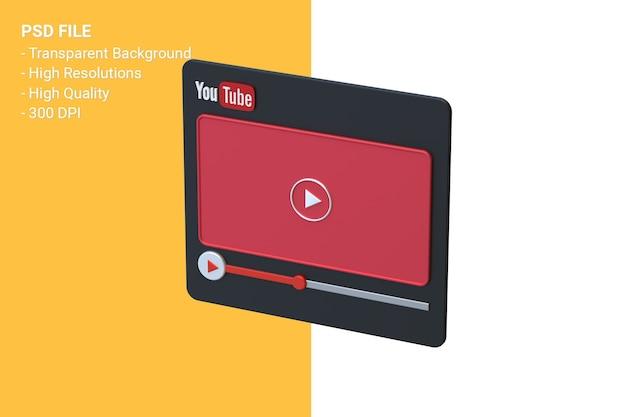 Youtube видеоплеер 3d дизайн экрана или интерфейс видеоплеера