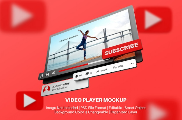 Youtube video player mockup in 3d style