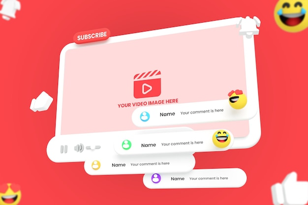 3d 스타일의 youtube 비디오 플레이어 모형