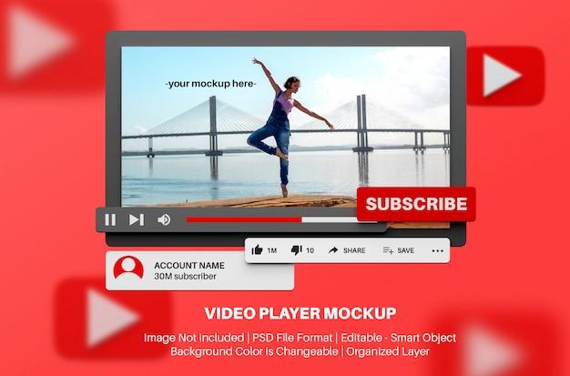 3d 스타일의 유튜브 비디오 플레이어 모형