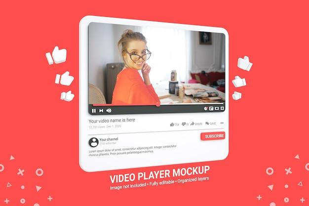 Шаблон макета видеоплеера youtube в 3d стиле премиум psd