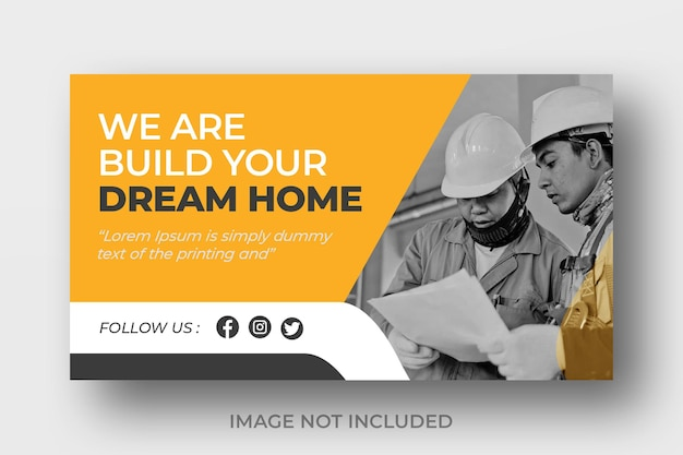 Youtube video thumbnail for construction business or banner design