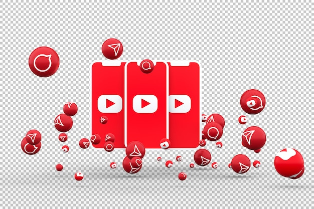 Значок youtube на экране смартфона и youtube реакции любви emoji 3d визуализации на прозрачном фоне