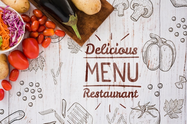 Yummy restaurant menu background with copy space