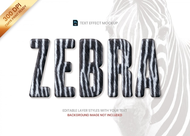 Zebra striped fur animal pattern text effect psd template.