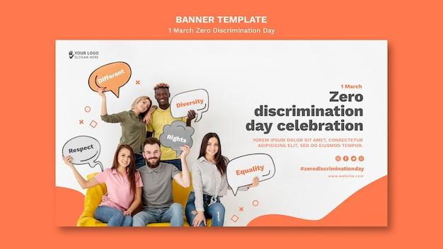 Modello di banner giorno di discriminazione zero con foto