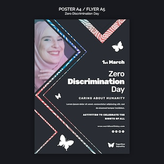 Modello di poster per eventi del giorno di discriminazione zero
