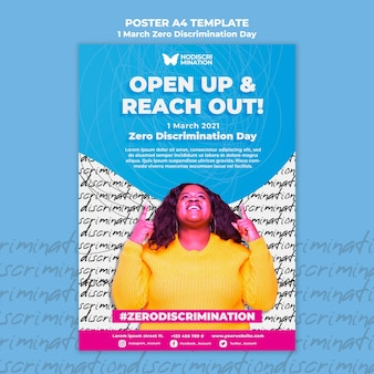 Zero discrimination day flyer template