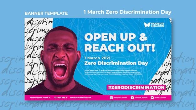 Modello di banner orizzontale giorno di discriminazione zero