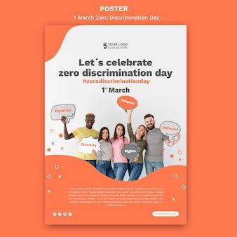Modello di manifesto del giorno di discriminazione zero con foto