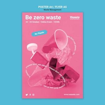 플라스틱 폐기물 제로 전단지 템플릿