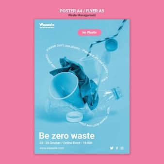Modello di poster per rifiuti di plastica zero