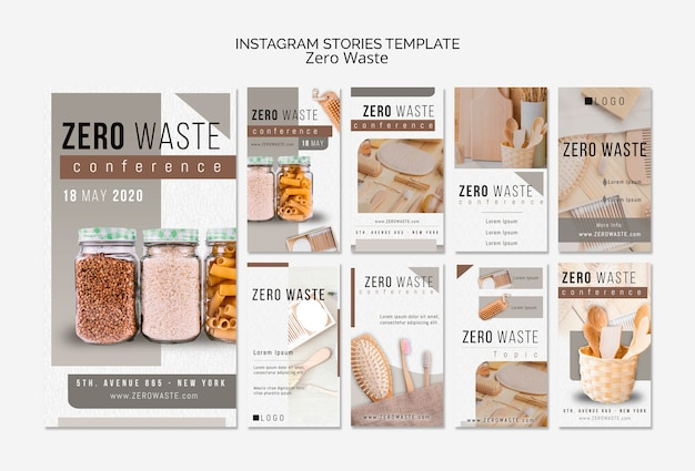 Zero waste instagram stories template with photo