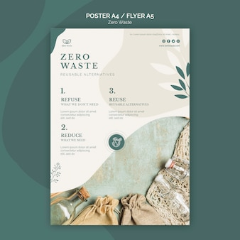 Zero waste products flyer template
