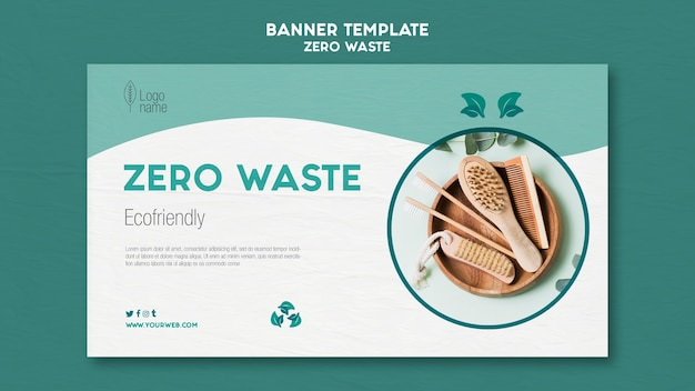 Zero waster banner template with photo