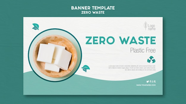 Zero waster horizontal banner template with photo
