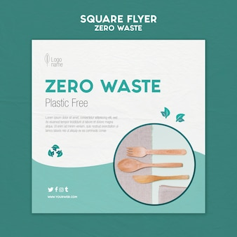Zero waster square flyer template with photo