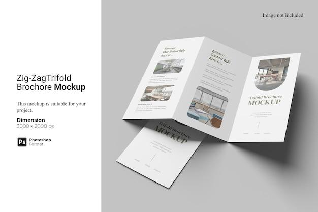 Zigzag trifold brochure mockup