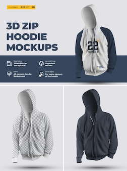 Zip hoodie mockups (subject). design is easy in customizing images design hoodie (torso, hood, sleeve, pocket), color of all elements hoodie, heather texture.