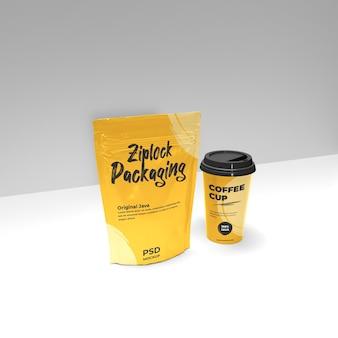 ジップロックとコーヒーカップのリアルなモックアッププロモーションのサイドビューシーン