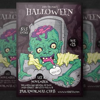 Zombie halloween party flyer template