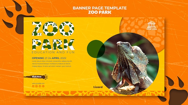 Zoo park banner page template with photo