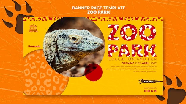Zoo park banner template with photo