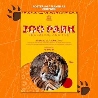 Zoo park flyer template