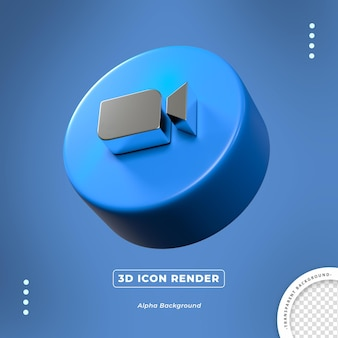 Zoom 3d isolated render side icon