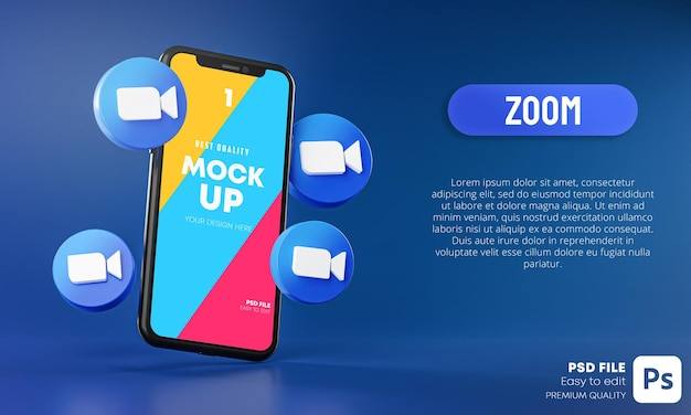 スマートフォンアプリのモックアップ3dの周りのズームアイコン