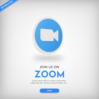 Zoom invite banner template with 3d icon