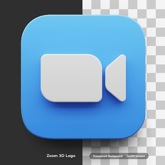 Zoom video call 3d logo style in round corner square icon asset isolated