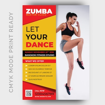 Zumba dance fitness gym flyer design template