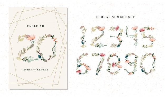 0から9セットの花と葉の水彩番号
