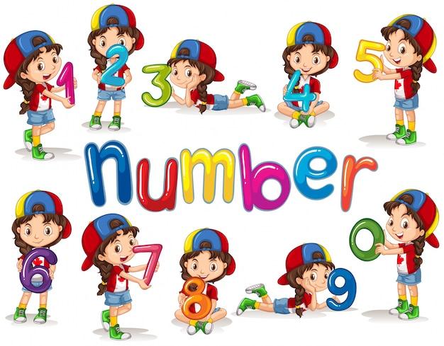 女の子と数字の0から9