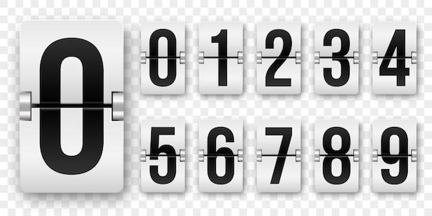 カウントダウンの数字はカウンターを反転します。孤立した0〜9のレトロなスタイルのフリップ時計またはスコアボードの機械番号セット白地に黒