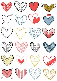 0031 hand drawn scribble hearts
