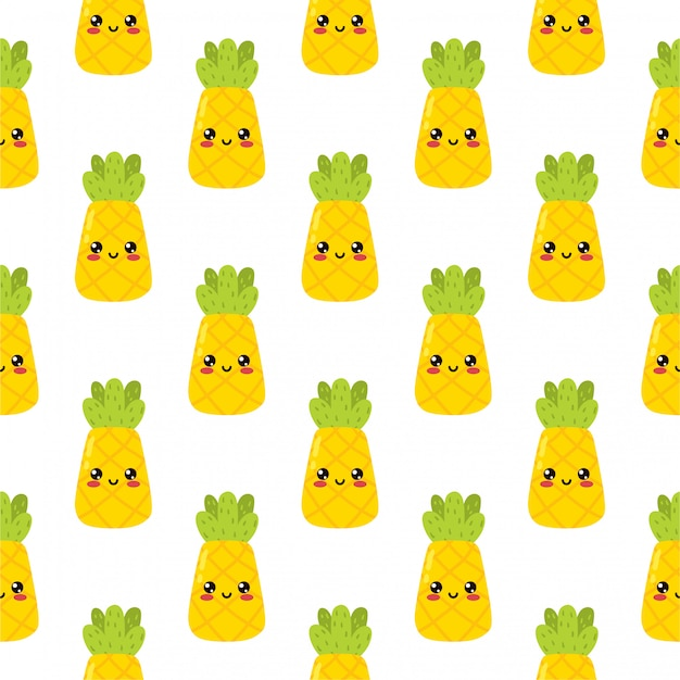 007 kawaii cartoon cute pineapple fruit  emoji sticker happy character on white background delicious icon design vector illustration element seamless pattern