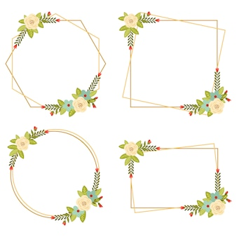 010-vintage wedding geometric floral frames collections