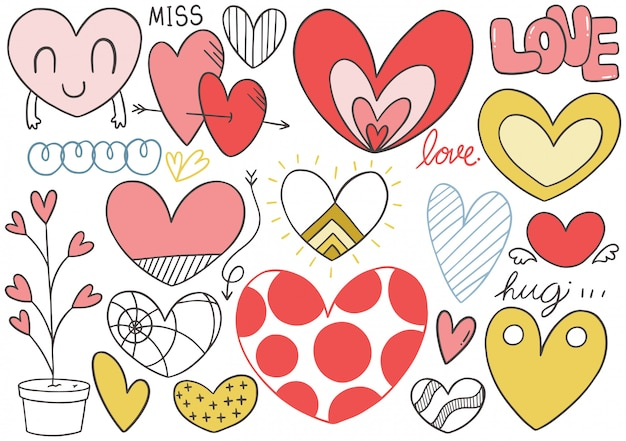0102 hand drawn doodle heart collection
