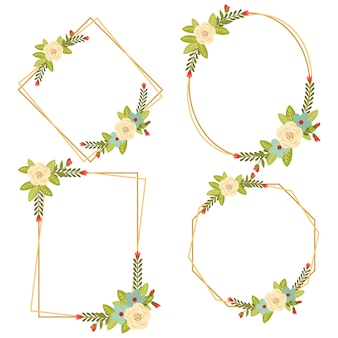 011-vintage wedding geometric floral frames collections
